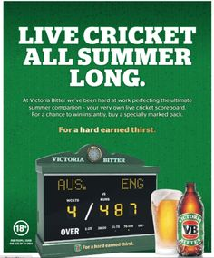 Victoria Bitter celebrates the Ashes with scoreboards big and small.  Good idea or junk for man cave?