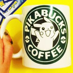 Pikabucks Coffee Mug | Pikachu Pokemon Starbucks | Anime Gaming