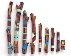 Painted driftwood hand painted sticks von LivingLikeLexie auf Etsy