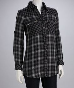 Take a look at this Gray Vintage Plaid Button-Up by Signature Style: Women's Apparel on #zulily today!