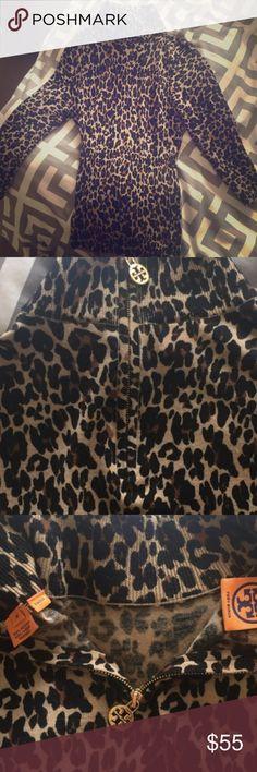 Tory Burch Leopard Print Sweater Stretchy wool sweater, med. super flattering, zipper in back, mock neck. Tory Burch Sweaters Cowl & Turtlenecks