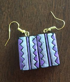 Handmade terracotta earrings in purple and pink by Riyaterracotta on Etsy https://www.etsy.com/listing/266780243/handmade-terracotta-earrings-in-purple