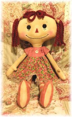 Katie Raggedy Annie Primitive Doll Raggedy Ann Pink Annie Doll by raggedydollys on Etsy