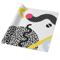 Memphis Design Pattern Snake and Worms Wrapping Paper $16 designed by JunkyDotCom on Zazzle.com