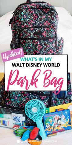 In My Walt Disney World Park Bag - UPDATED What's in my Walt Disney World park bag - the essentials I carry on my back during any Disney trip.What's in my Walt Disney World park bag - the essentials I carry on my back during any Disney trip. Voyage Disney World, Disney World Packing, Disney World Vacation Planning, Disney World Florida, Disney World Parks, Walt Disney World Vacations, Disneyland Trip, Disney Planning, Disney Travel