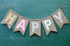 HAPPY burlap banner por CMhandmade en Etsy                                                                                                                                                                                 Más
