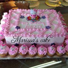 Hello kitty birthday cake and cupcake. Visit us Facebook.com/marissa'scake.