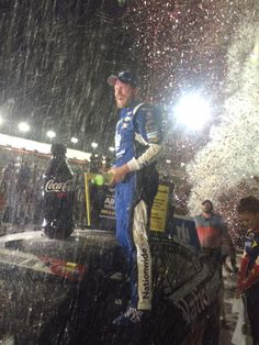 #DietDew shower! Awesome to see @DaleJr and the @nationwide88 Stars and Stripes Chevy in Victory Lane @DISupdates!