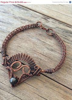 Egyptian inspired Wire wrapped copper bracelet, viking knit bracelet, copper jewelry, wire weave bracelet
