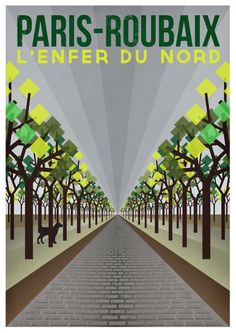Cycling Art Print  ParisRoubaix Size A3 16.5 by TheHandmadeCyclist, £19.00