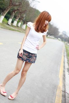 Rose Printed Above-knees Denim Skirt