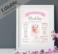 Birth Announcement Editable BIRTH Stats printable wall art template Print Sign p… - Geburtsanzeige Bebe 1 An, Birth Announcement Template, Birth Announcements, Baby Frame, Floral Banners, Baby Memories, Art Template, Baby Birth, Baby Girl Gifts