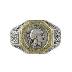 Konstantino 18K Gold and Sterling Silver Antiquity Revival Style Men's Ring | eBay