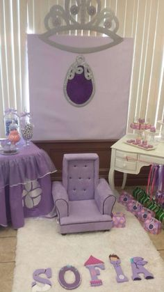 Sofia the First birthday party decorations! See more party ideas at CatchMyParty.com!