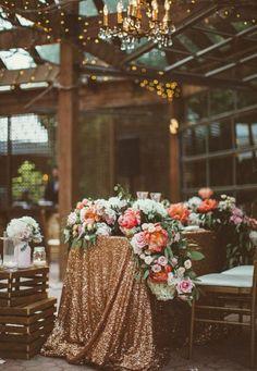 Photographer: Nikki Mills Photography, Via Wedding Chicks; Gorgeous outdoor blush floral tablescape wedding reception decor;