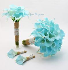 Blue Real Touch Calla Lily Burlap Lace Bridal Bridesmaid Bouquet Groom Groomsman Boutonniere