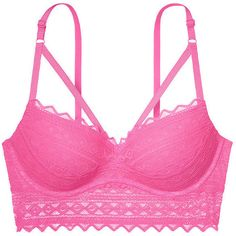25729f50bd Strappy Front Push-up Bralette PINK (48 AUD) ❤ liked on Polyvore featuring  intimates