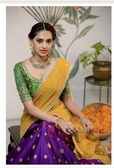 New wedding dresses bridesmaid yellow brides 59 ideas Half Saree Lehenga, Lehenga Saree Design, Lehenga Designs, Saree Blouse Designs, Sari, Blouse Patterns, Anarkali, Lehenga Blouse, Dress Designs