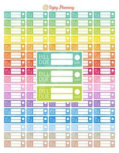 PRINTABLE Bill Due Planner Stickers Planner by EnjoyPlanning