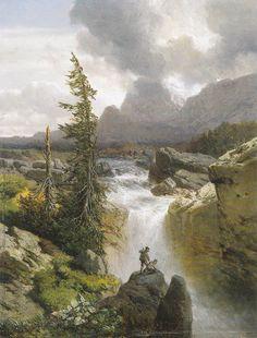 Hory s vodopádem - August Albert Zimmermann