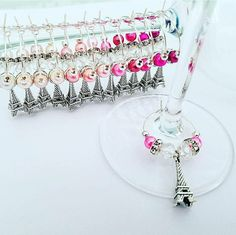 Custom Order || Paris Eiffel Tower Wine Glass Charm Favors || Available at LasmasCreations.etsy.com