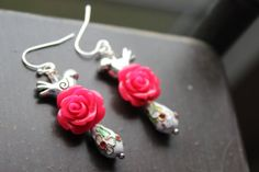 Frida Kahlo inspired Day of the Dead Earrings by VivaGailBeads, $13.45