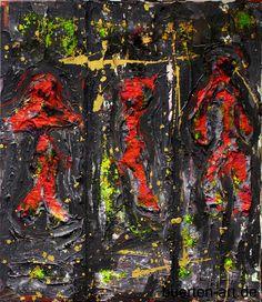 Abstract painting/collage made by Bürten Aumeier-Pannier | buerten-art.de