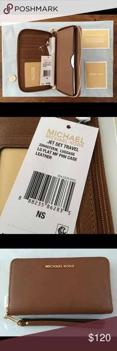 """Michael Kors Jet Set - Large Flat Phone Case - NWT Leather wristlet/wallet/phone case. I believe they call this brown color """"Luggage.""""  Measures approx. 6.5""""w x 3.5""""h x 1""""d Detachable wristlet strap, approx 5"""" drop KORS Michael Kors Bags Clutches & Wristlets"""