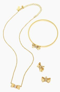Darling bow necklace with matching earrings and bangle