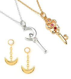 """""""sailor moon"""" """"sailor moon merchandise"""" """"sailor moon jewelry"""" """"sailor moon 2013"""" gold silver necklace crescent moon wand time key crystal earrings anime japan bandai"""
