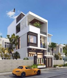 Architectural design is a concept that focuses on components or elements of a structure Duplex House Design, House Front Design, Modern House Design, Modern Houses, Bungalow Homes, Bungalow House Plans, Building Exterior, Building Design, Exterior House Colors