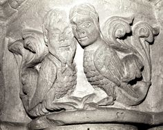 Fantastic hybrids. Capital sculpture from the narthex of Loches Church of Saint Ours, 12th century, Romanesque Period. Indre et Loire, Touraine, France (J. Smither).