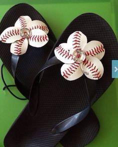 Baseball+Flower+Flip+Flops++Sports+Moms++Baseball+by+DishandStitch,+$24.00