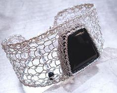 Black Onyx Silver Cuff, Fine and Sterling Silver Knit Wire Crochet Gemstone Bracelet, Statement Jewelry, Ooak