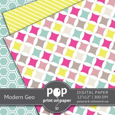 Modern Geometric 10 digital papers 12x12 by POPprintonpaper
