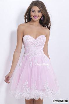 Beautifull Empire Sweetheart Tulle and Lace applique Beading Pink Prom Dress - Sweet 16 Dresses - Homecoming | Cocktail | Party