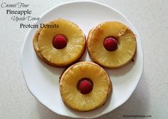 Coconut Flour Pineapple Upside Down Protein Donuts. A perfect treat to curb you sweet tooth craving. This is perfect for a post workout meal.