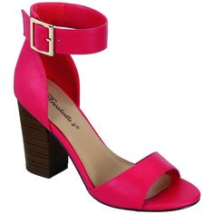 Breckelle's Hot Pink Pensee Sandal ($17) ❤ liked on Polyvore featuring shoes, sandals, high heel sandals, high heel shoes, hot pink sandals, buckle sandals and ankle strap high heel sandals