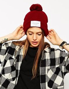 Enlarge ASOS Life Is Short Label Beanie With Pom