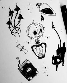 Spirit World mini tattoo flash. I'm prepping some new stuff for the final part of the Summer Bummer sale, bunch of new originals, prints, deals and discounts. Cute Drawings, Drawing Sketches, Tattoo Sketches, Stylo Art, Mononoke, Arte Fashion, Halloween Art, Halloween Drawings, Art Manga