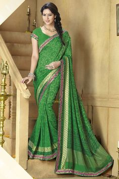Green Color #Designer #Printed #Party Wear Saree With Blouse At Skysarees.