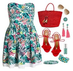 """""""Tropical Summer Dress"""" by feelgood35 ❤ liked on Polyvore featuring Superdry, Sensi Studio, Aquazzura, BaubleBar, Ray-Ban and Belle Etoile"""