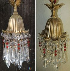 1of4 Vintage Hanging lily Brass plate SWAG lamp Chandelier crystal ruby beaded | eBay