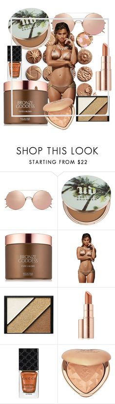 """""""radience"""" by dogatalya ❤ liked on Polyvore featuring Sunday Somewhere, Urban Decay, Estée Lauder, Beach Bunny, Elizabeth Arden, Gucci, Too Faced Cosmetics and Menu"""