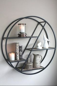 metal furniture Metal Round and Wood Shelf Metal Shelves, Shelving, Small Fireplace, Iron Furniture, Furniture Ideas, Wood And Metal, Wood Wood, Metal Projects, Metal Homes