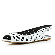 White cut out sling back sandals - pumps / slippers - shoes / boots - women Holiday Wardrobe, Only Shoes, Sandals For Sale, Red Shoes, Shoe Collection, Shoe Boots, Kitten Heels, Slippers, Pumps