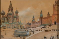 Albert Edelfelt - From Moscow (The Kremlin and St Basil's Cathedral) 1896