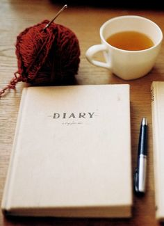 knitting, tea and a diary, change that diary to a travel journal and you've got some of my fav things