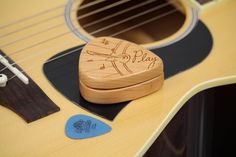 Guitar Pick Box, Pattern G44, Solid Cherrywood, Laser Engraved, Paul Szewc http://etsy.me/20mgDVE