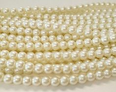 Off White 8mm Beads, 8mm Round Glass Pearl Bead, 8mm Glass Beads, 55 Pearls,  Pearls, Round Beads, Loose Pearls by vickysjewelrysupply. Explore more products on http://vickysjewelrysupply.etsy.com
